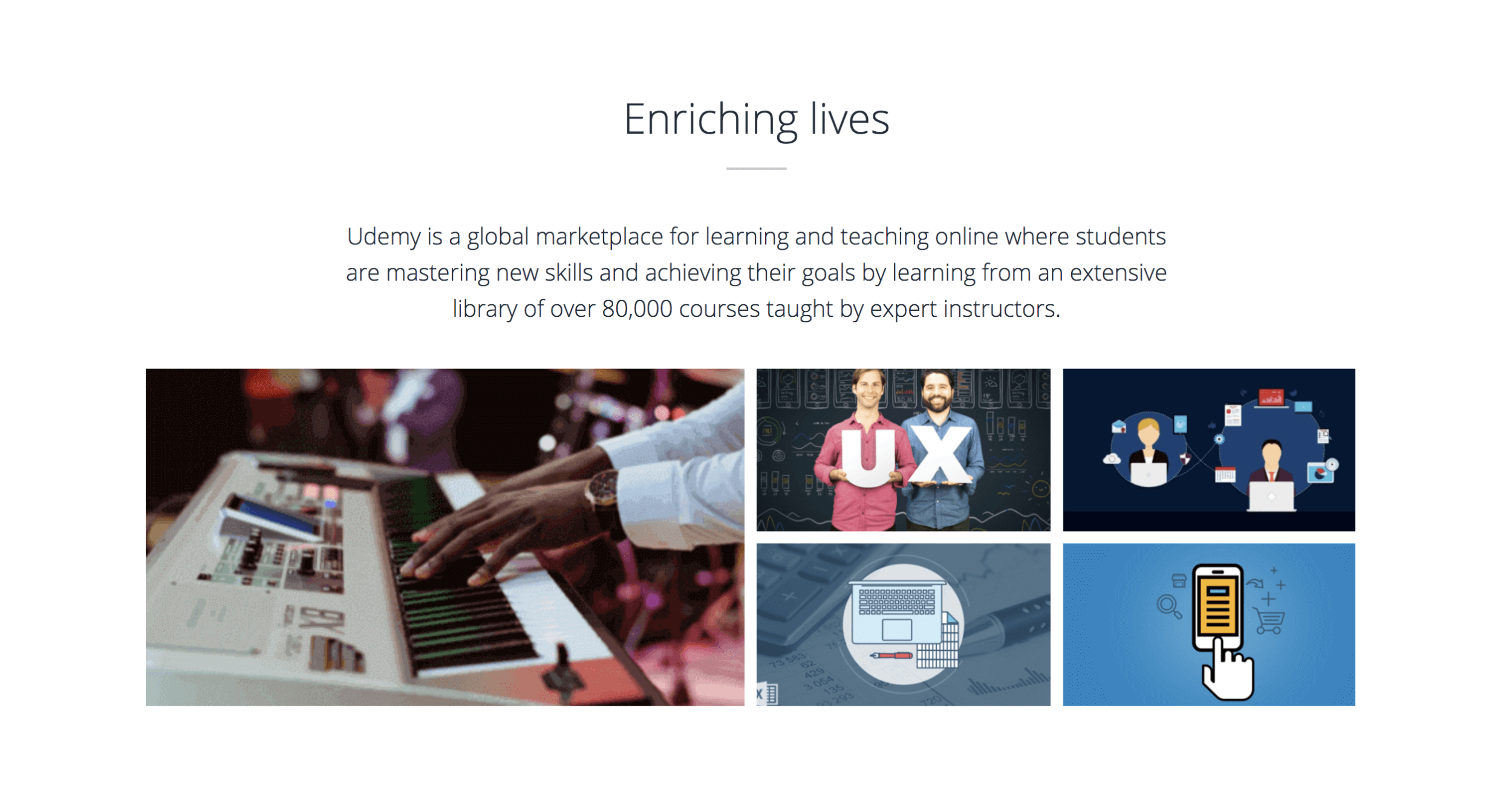 Screenshot from the Udemy website with the title 'Enriching lives' in which Udemy markets its courses as being taught by expert instructors